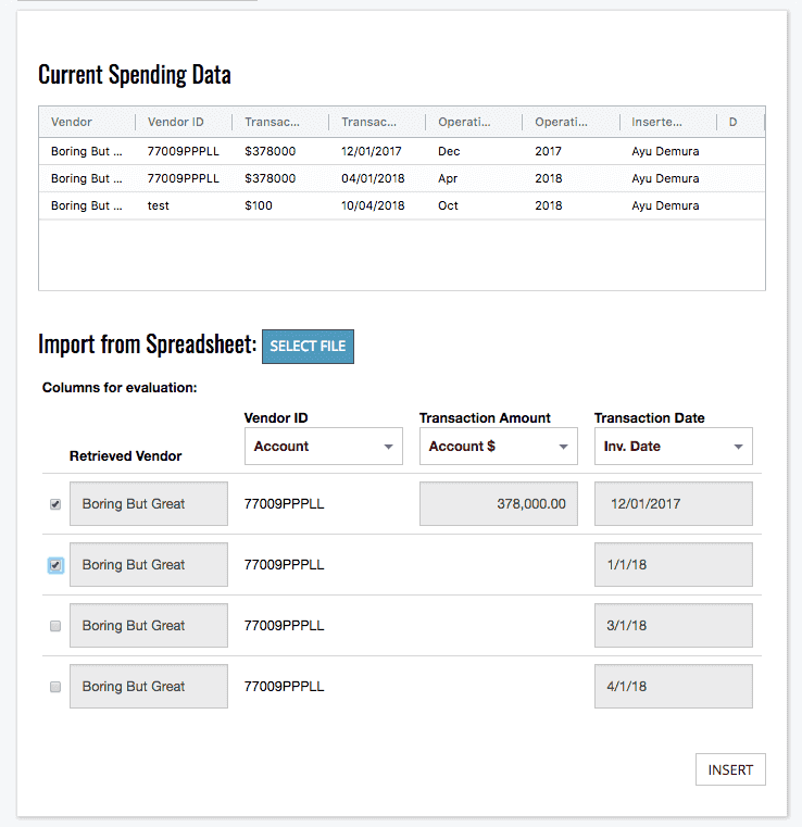 Import Spend Data from Excel
