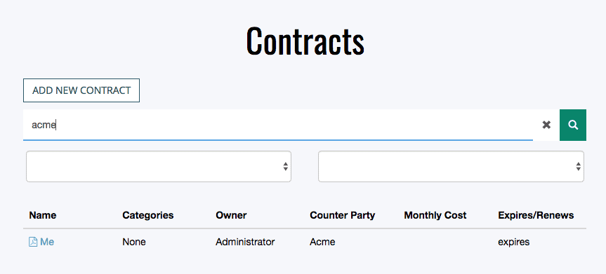Search and Filter Contracts