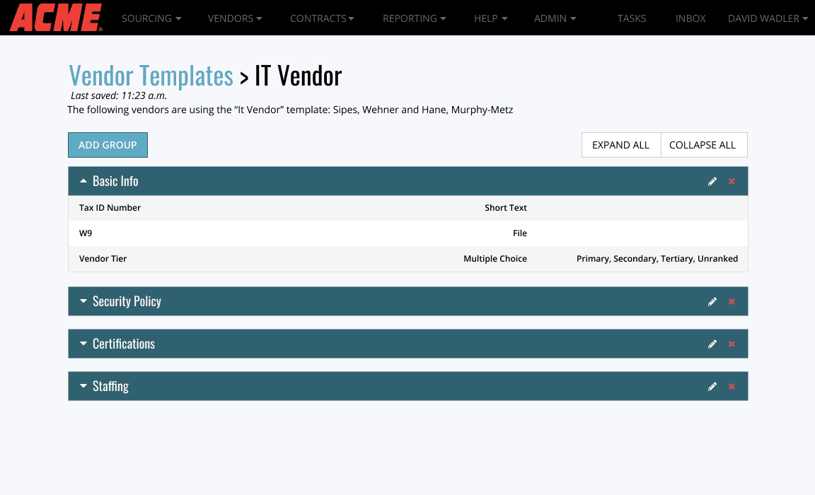 Edit a Vendor Template