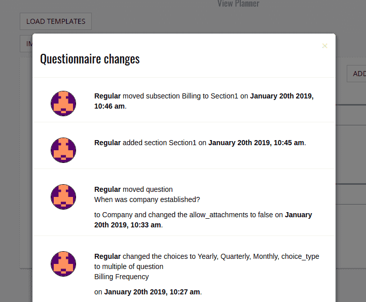 Questionnaire Audit History
